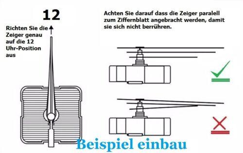 Quarz-Uhrwerk geräuschlos lautlos kein ticken Uhrzeiger Satz 110 mm GELB  #246