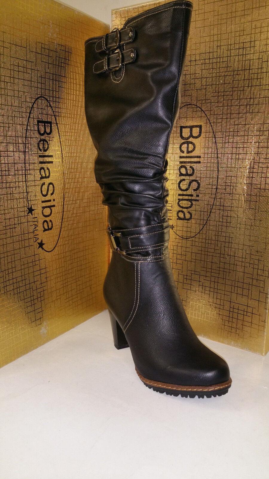 Bella Siba Italia Negro Para Mujer De La Rodilla De Tacón Alto Fashion botas