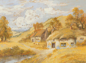 F-E-Jamieson-Signed-20th-Century-Gouache-Autumnal-Cottage-Study