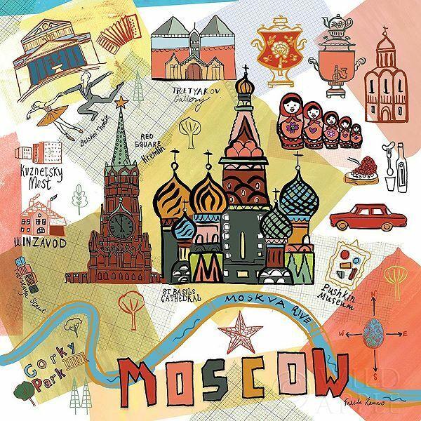 Farida Zaman  Global Travel VI Keilrahmen-Bild Leinwand Moskau Reise Collage