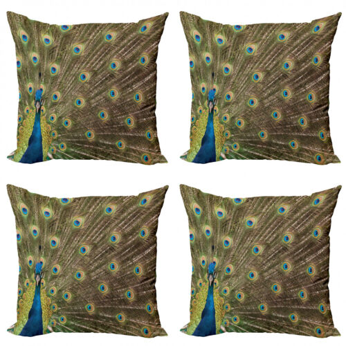 Ambesonne Feather Cushion Cover Set of 4 for Couch and Bed in 4 Sizes