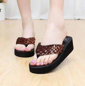 59d5e37a826b Woman Girl Platform Flip Flops Casual Sequin Slippers Ladies Summer ...