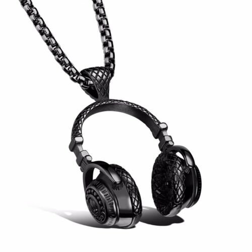 Titanium Steel Music Headphone Headset Pendant Necklace Men/'s Punk Hip Hop Gift