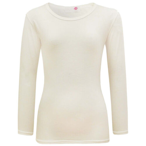 Girls Plain Top Kids Long Sleeve Tee T Shirt Stretch Fit Teen New Age 2-13 years