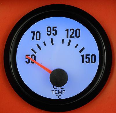 Universal Oil Temp /Temperature gauge supplied with 1/8npt Sensor Blue LED Light