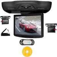 "BLACK 12.1"" LCD Car Roof Mount Monitor flip down DVD Player IR FM SD USB Games"