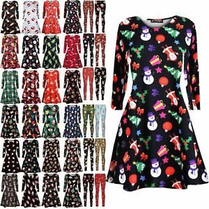 Womens-Ladies-Christmas-Tree-Santa-Snowman-Gift-Present-Xmas-Flared-Swing-Dress