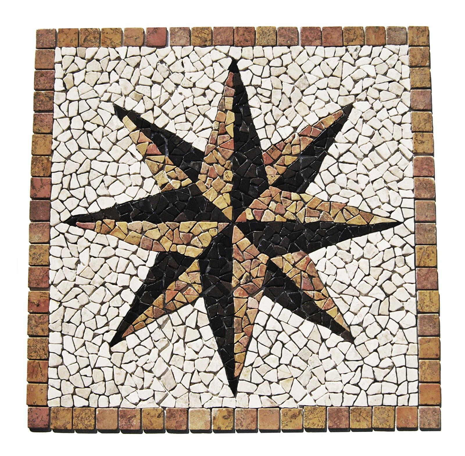 1 Marmor Einleger RO-006 - 90x90x1cm - Mosaik Rosone - Fliesen Lager Herne NRW -