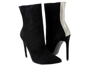 f6a9188bf59 Details about Steve Madden Wagu Black Suede Rhinestone Bootie Boots Sz 7.5  NEW