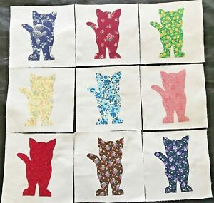 9-Calico-Cat-Appliques-Quilt-Top-or-Wall-Hanging-6-034-Blocks-Cotton-Fabric