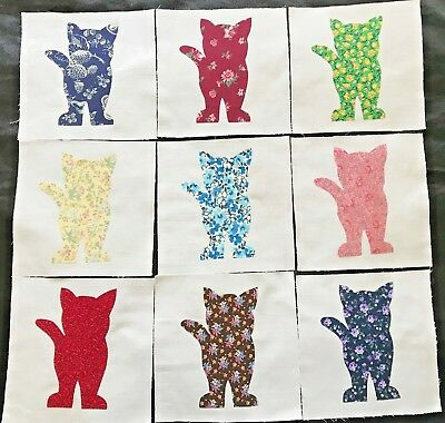 9  Quilt Top Blocks Cotton Fabric Red Airplane Appliques 6 Inches Square