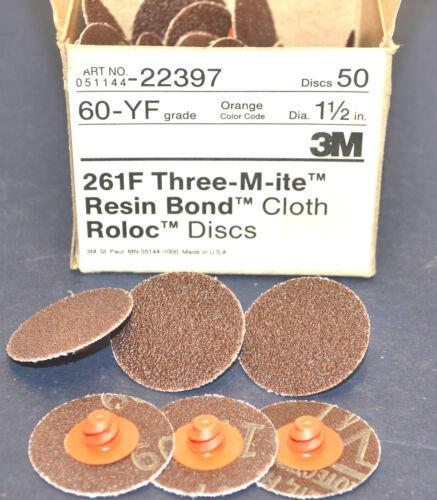 "50 NEW 3M THREE-M-ITE 1-1//2/"" ROLOC 60 grit DISC 261F Grinding Discs #WL7.4.2"