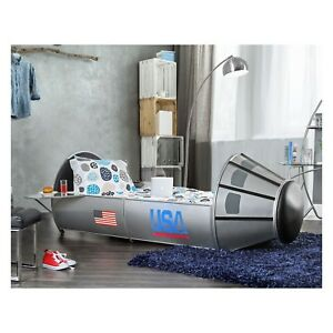 Details about Bed Silver Twin Spaceship Rocket Bedroom Furniture Toddler  Boy Child NASA Theme