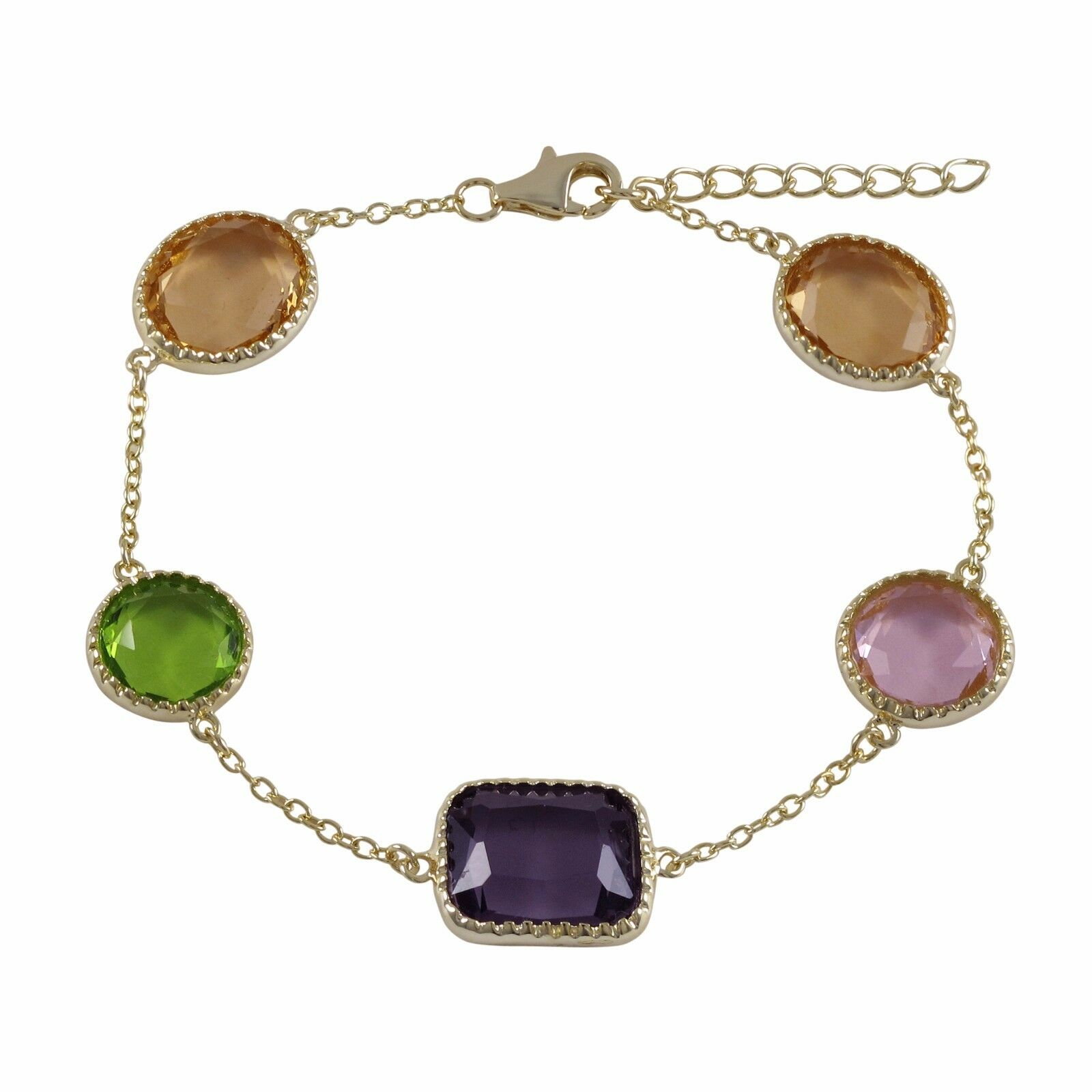 gold Finish Multi color Sliced Glass Ovals Womens Bracelet