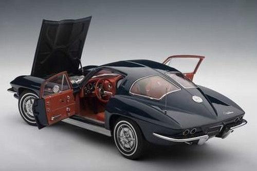 1 18 Autoart CHEVROLET CORVETTE 1963 COUPE DAYTONA Blau  | Neuankömmling