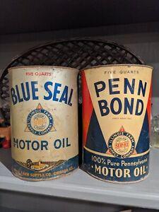 PAIR-Old-amp-Original-1940s-Penn-Bond-amp-Blue-Seal-Motor-Oil-5-Quart-Cans