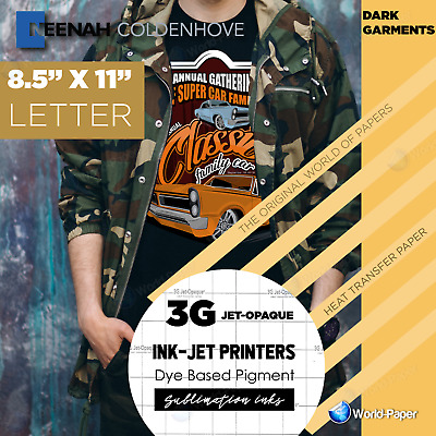 3G Jet Opaque Heat Transfer Paper 8.5 x 11-200 Sheets Neenah for dark color
