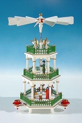 Pyramide de Noël blanc, blanc, Noël vert clôture/3 étages hauteur env. 35 CM Nouveau table pyramide d8b023
