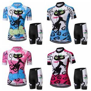 Détails sur Femme Jersey Cyclisme Ensemble Manche Courte Vtt Maillot Vélo Short Costume