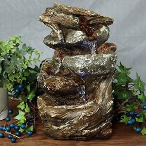 Details About Indoor Water Fountain Led Lights Tabletop Waterfall Home Decor Table Small Rock
