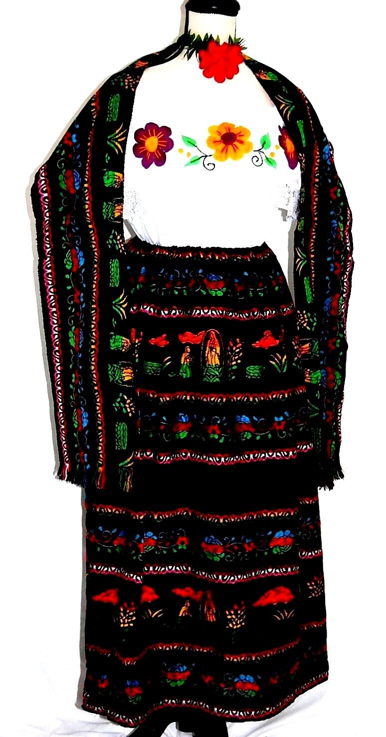 Mexico Dress 3 pc Virgende  Guadalupe Hand Embroidery Blouse Skirt Shawl vtg 2XL