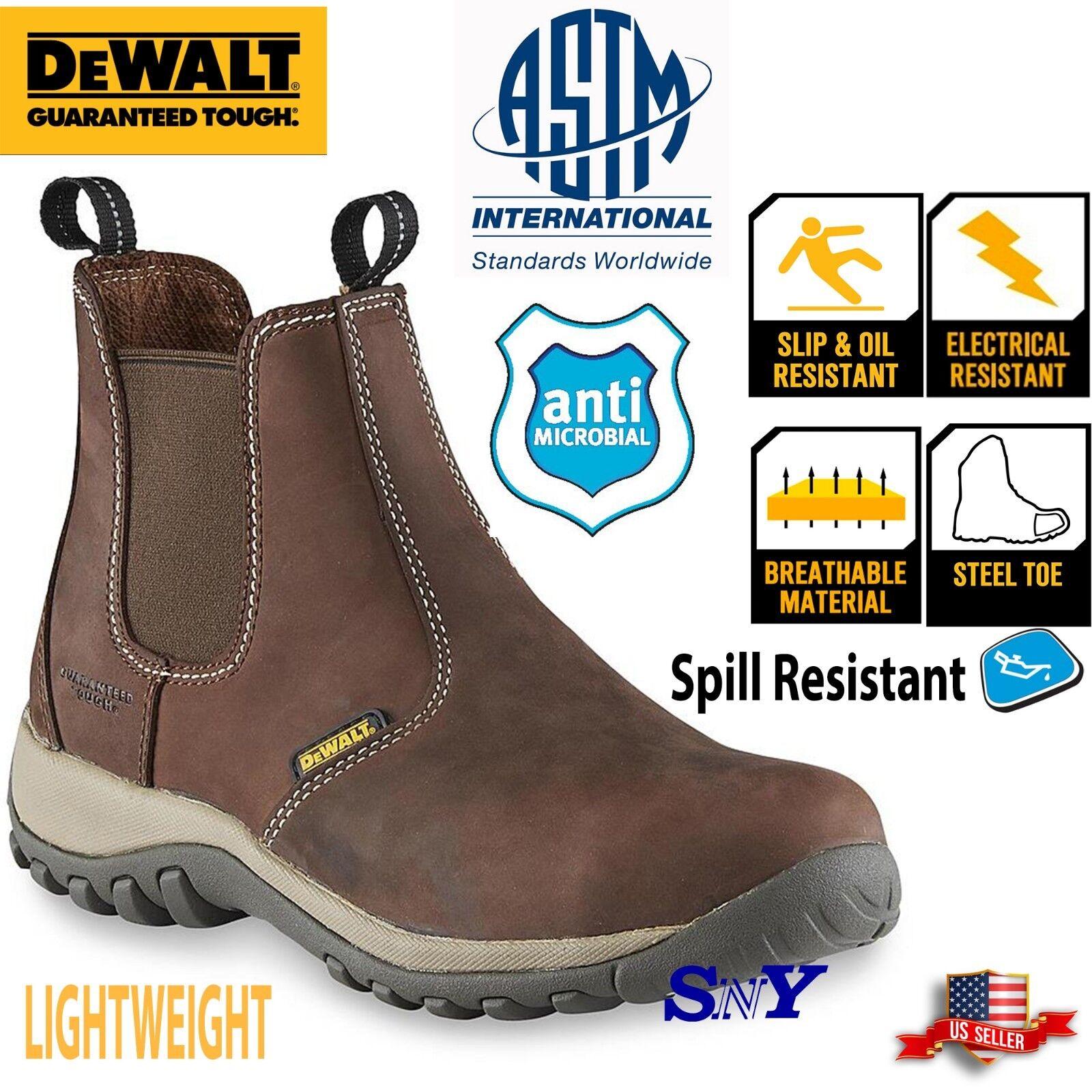 DeWALT Steel Toe Chelsea Pull-on Work Boots Slip resistant Boot ASTM EH Rated