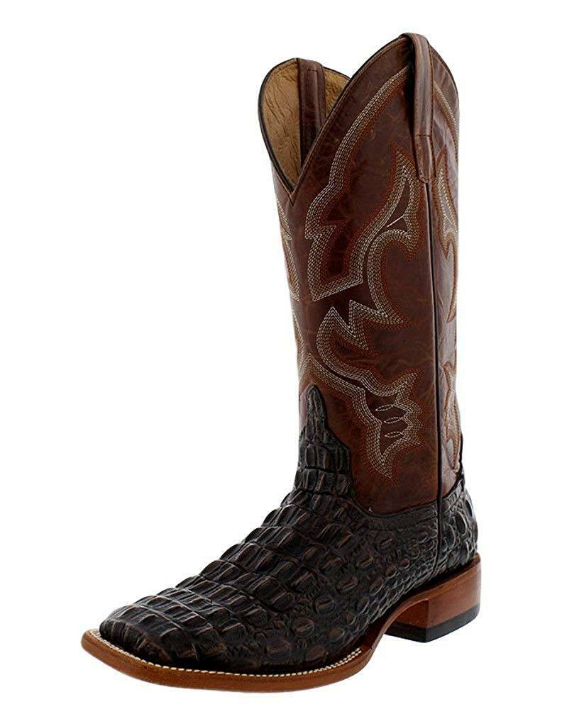 Horse Power Men's HP1806 Pull-On Leather Western Boots Saddle Tan Caiman