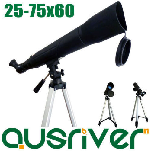 Angled 25 75 x 60 Zoom Precision Spotting Scope Telescope Tripod Xmas Gift