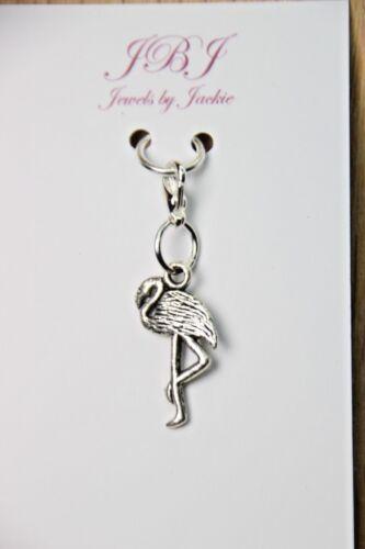 """8/"""" Flamingo Charm Clip On Lobster Claw Clasp Create a Custom Bracelet 6/"""""""