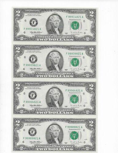 Uncut Sheet of 4 $2 1995 Atlanta Notes Gem Crisp Uncirculated