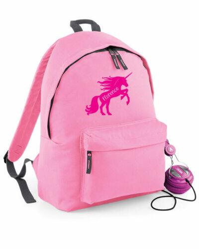 Bambini Bambine Scuola Borsa Nome Personalizzato Unicorno Zaino Zaino 4 COLORI