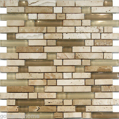 Sample-Beige Cream Glass & Travertine Linear Mosaic Tile Kitchen Backsplash Spa