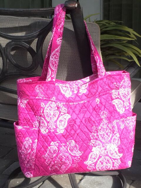 660dd55c9c7a Vera Bradley Stamped Paisley Pink Quilted Pleated Tote Handbag for ...
