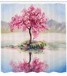 Japanese-Cherry-Blossom-Sakura-in-Lake-Soft-Painting-Print-Shower-Curtain-Set