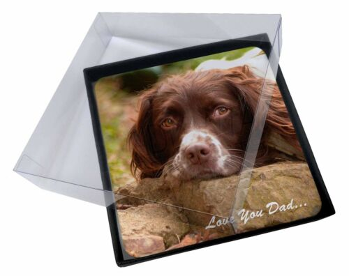 4x Springer Spaniel 'Love You Dad' Picture Table Coasters Set in Gift , DAD190C