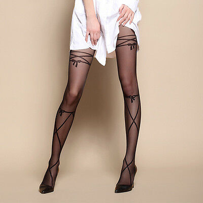 New Women Sexy Stockings Bow Tattoo Pantyhose Thin Sheer Tights Black Socks