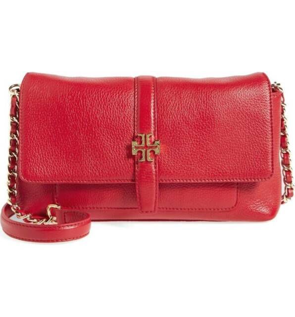 6bd13d6f2f50 New  395 Tory Burch Plaque Red Kir Royale Leather Chain Small Crossbody Bag