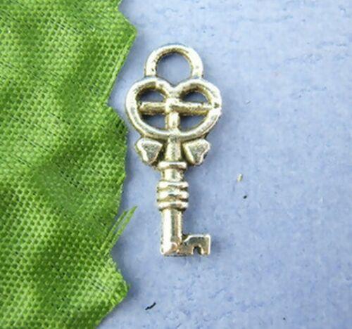 50 Breloques /_ CLE CLEF COEURS argenté 18X8mm /_ Perles charms créa bijoux /_ B088