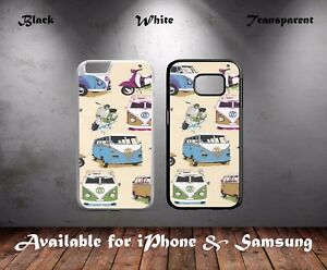 Retro-VW-Camper-Van-Scooter-Collage-Art-Hard-Phone-Case-Cover-N280