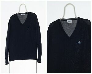 Vintage-Mens-VIVIENNE-WESTWOOD-Jumper-Sweater-V-Neck-Black-Size-S