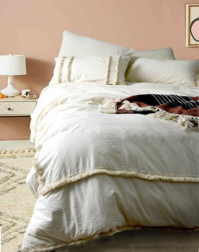 Handmade Indian Duvet Cover 100/% Cotton Donna Cover Bohemian Bedding Ivory Color