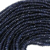 2x4mm faceted sapphire blue jade rondelle beads 15 Inch JL147