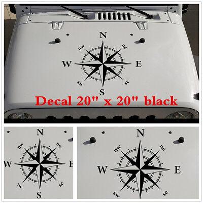"Black Decals For Jeep Wrangler Compass Vinyl Hood Decal 20/"" x 20/"" Car Sticker"