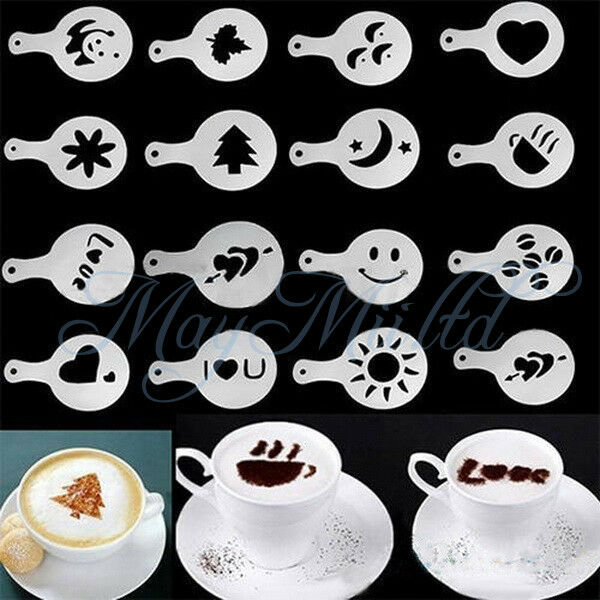 16Pcs Creative Coffee Barista Stencils Template Strew Pad Duster Spray Art BH