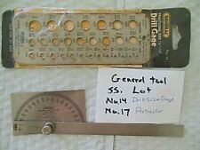 Lot Of Machinist Tools General Tool Co No 14 Drill Gage Amp No 17 Protractor