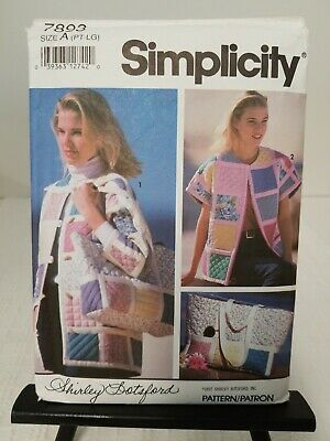 1992 UNCUT Simplicity Sewing Pattern 7893 Misses/' Quilted Jacket Bolero Vest