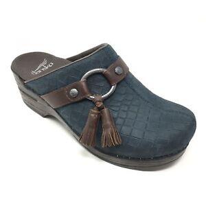 Women-039-s-Dansko-Shandi-Mules-Clogs-Shoes-Size-36-EU-5-5-6-Blue-Crocs-Tassels-F6
