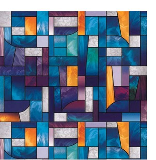 "Abstract Stained Glass Decorative Window Film, Self-Adhesive Film 36""x19"""
