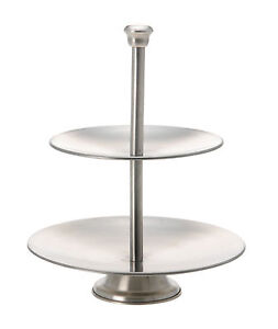 2 Tier Cake Stand Cupcake Stand Food Stand Brushed Stainless Steel