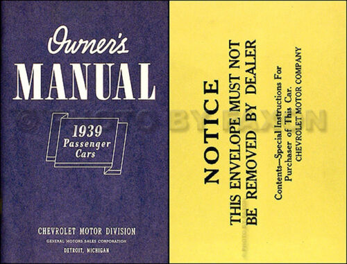 1939 Chevrolet Car Owners Manual with Envelope 39 Chevy Owner Master and Deluxe